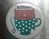 """Kitty & Tea Love 2.25"""" Pocket Mirror"""