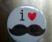 "I Heart Mustache -  2.25"" Pocket Mirror"