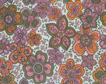 Sale---Vintage Cotton Fabric-Pink Flowers---Sale