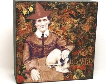 "SALE---""Beware""  Original Mixed Media Halloween Collage Art"