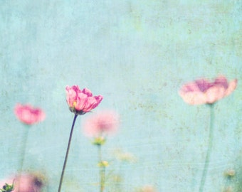 Botanical photography print teal blue pink cosmos flowers nursery baby room wall art  'Pastel Garden'