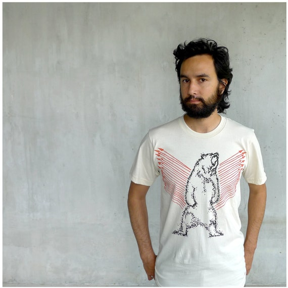 Mens tshirt - organic cotton - MEDIUM - eco friendly fashion - grizzly bear print with bright orange arrows - URSA MAJOR