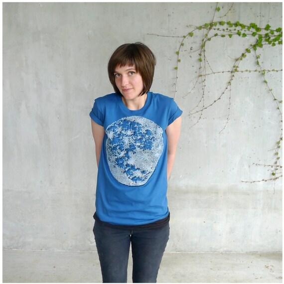 Womens tshirt - galaxy blue and white - full moon screenprint on American Apparel organic cotton - My Moon, My Man - S/M/L/XL