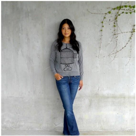 One That Got Away - autumn fashion - womens slouchy pullover - S-XL - birdcage print on heather gray raglans