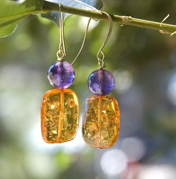 Honey and Grapes- amber and amethyst earrings, Last Pair