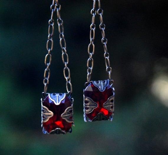 Victorian Red Rhinestone earrings, Chandelier, boho