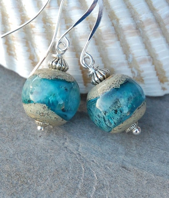 Sand and Sea - handmade lampwork glass earrings, boulder opal, turquoise, ocean, gift