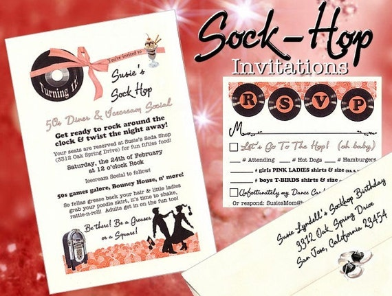 25 Sock Hop Event Invitations Birthday Pink Black Sweet 15 16