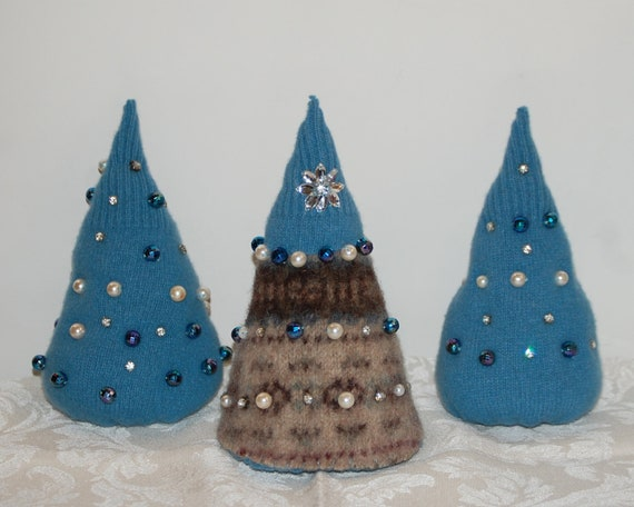 Felted Wool Christmas Trees Christmas Tree Trio with Faux Pearls, Blue Disco Beads, and Rhinestones Christmas decoration SALE