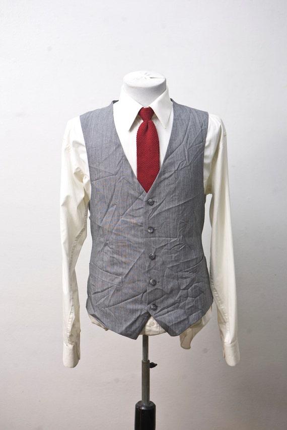 Size 44 Vintage Grey Pinstripe Vest