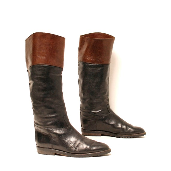 size 8.5 EQUESTRIAN black brown leather 80s knee high TALL boots