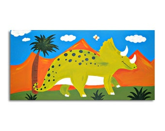 Triceratops Dinosaur Painting / Children's Art / Canvas / Nursery decor