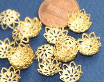 100 pcs of Gold plated  filigree beadcaps 12mm, gold bead caps, gold filigree bead caps , bulk bead caps