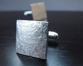 Struck - Square Hammered Silver Cufflinks - Graduation Gift for Him UK - Industrial Cuff-Links