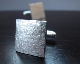 Struck - Square Hammered Silver Cufflinks - Rustic Texture - Graduation Gift - Industrial Cuff-Links