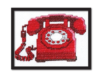 Red Retro Phone Cross Stitch Pattern Instant Download