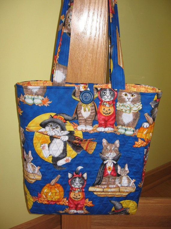 CUSTOM ORER - Aunt Roo's BIG Cat Halloween Quilted Tote Bag