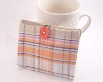 Tea Wallet, Tea Bag Holder, Small Wallet, Business Card Holder - Orange Plaid - READY MADE