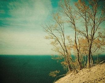 dreamy photography . aqua ocean photograph . sea shore beach photography . teal . blue sea . beach house art . summer .yellow . Dare to Leap