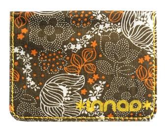 Brown Retro Flowers Fabric / Vinyl Wallet