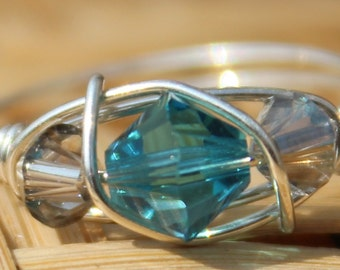 December Blue Zicron Sterling Silver Birthstone Ring Sizes 4-11
