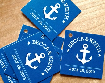 Nautical Wedding Favor Tags - Thank you tags - Anchor Wedding Gift Tags - Set of 50 - Cake Pop Tags