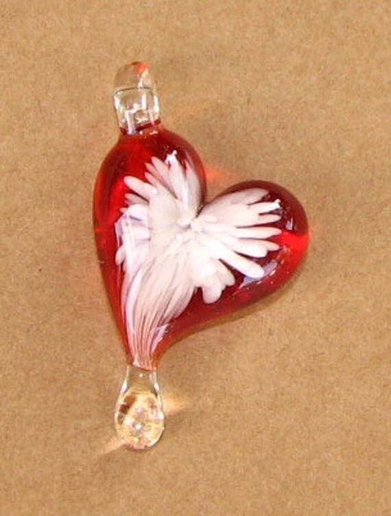 """Angel Wing Teardrop Heart Glass Pendant ... """"Created by Tom Heath"""""""
