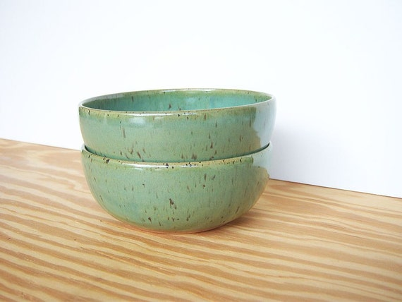 Reserved for Meghan's Registry - Spring Green Stoneware Pottery Bowls - Set of 2