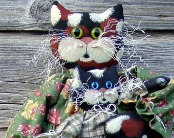 CF172 Callie's Girls - PDF ePattern Cloth Doll Pattern Cat, Kitties