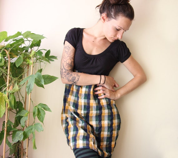 black and yellow plaid recycled tshirt dress medium