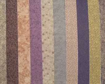 BROWN PRINTS 100% cotton Prewashed Quilt Fabric Strips, for Jelly Roll Quilts (stk#60)