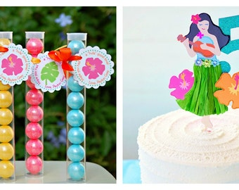The HULA Collection - Fantastic Favor Tags with Clear Candy Tubes from Mary Had a Little Party