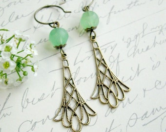 Filigree brass earrings, mint green, faceted glass bead dangles, cottage chic, romantic earrings
