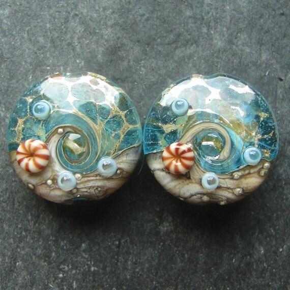 Lampwork beads 1130 Sprees (2) Ocean Waters