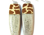 Safari Collection - Exotic Giraffe Animal Print and Faux Bone Polymer Clay Earrings - SCDiva