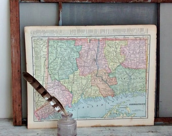 antique double sided map Massachusetts, Rhode Island, and  Connecticut 1899