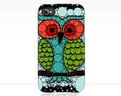 iPhone or iPod Case OWL Uncommon Slider Case teal aqua blue green red black iPhone 5 4/4s 3GS iPod - beththompsonart