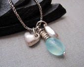 The Charmer Necklace- Sterling Silver and Aqua Chalcedony Necklace