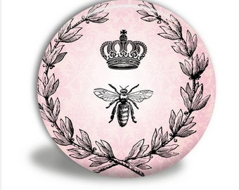 Crown and Bee Pocket Mirror - M026
