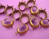 14 Antique Brass, Brass Ox Oval Prong Setting 12x10  Open Back 1 Ring Earring Drops Charm Settings Rhinestone Settings Pendant Settings