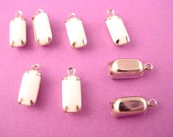 8 Vintage White Glass Octagon Drop  Silver tone setting Charm 10x5