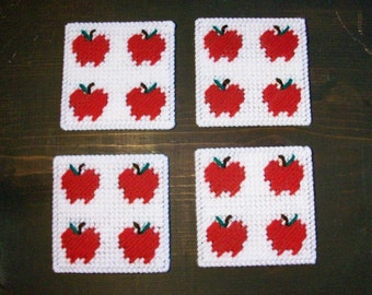 Apple Design Drink Coasters - Apple Image Beverage Coasters - Apples Mug Rugs - Matching Apple Magnet - Ready-to-Ship