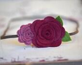 Wool Felt Flower Headband Double Rose Bouquet in Burgundy Plum For Baby Infant Toddler Girls