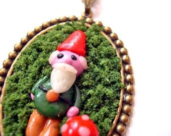 Garden Gnome  in Moss Necklace Woodland kawaii