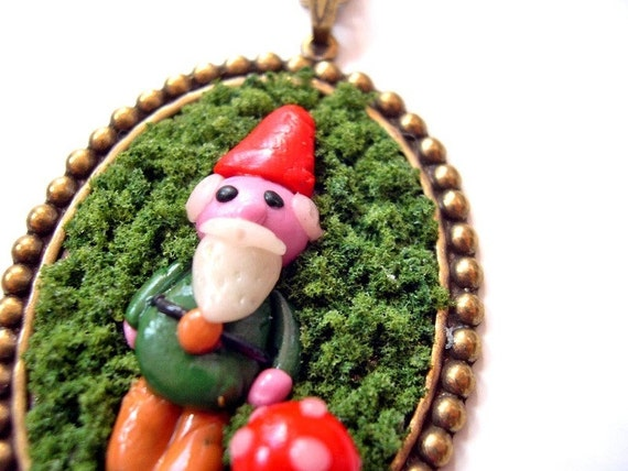 Garden Gnome  in Moss Necklace Woodland kawaii