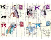 Instant DIGITAL DOWNLOAD tags Postcards Ladies BIrTHDAY Retro Beautiful Vintage Printable Christmas Papercrafts Scrapbooking Card making