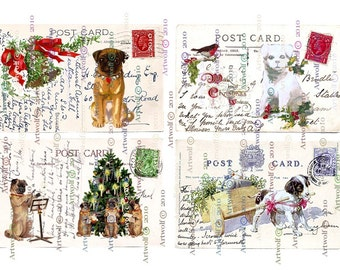 Instant Download Digital CHRISTMAS CARDS TAgs PUGS Puppies Terrier Dogs Snow Birds Cute Printable Vintage Postcard Papercrafts Scrapbook