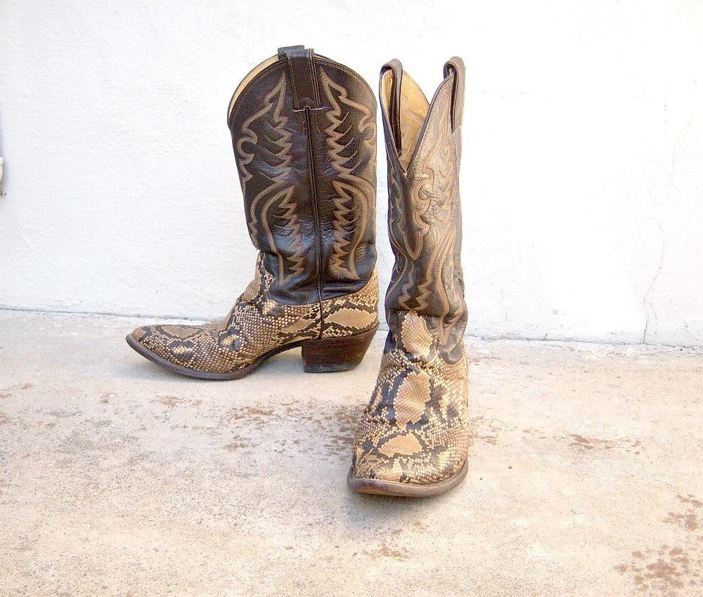 Vintage Cowboy Boots Justin PYTHON Snakeskin By
