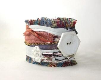Confetti Fiber Assemblage Textile Suede Cuff Bracelet