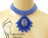 Blue Sodalite Beaded Cabochon Choker (DN028)